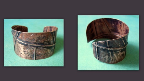 Foldform copper cuff with stamping